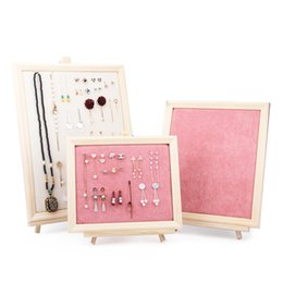 $enCountryForm.capitalKeyWord NZ - TONVIC Wholesale Pink Velvet   Beige Linen With Wood Fram Shape For Jewelry Storage Necklace Earring Display Stand Holder