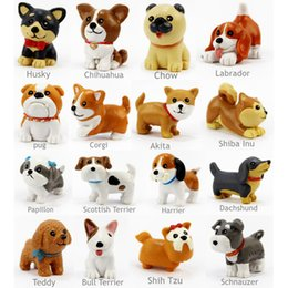 Wholesale 16 Set Kawaii Resin Miniature Puppy Mini Cartoon Dogs Figurines Animal Ornaments Table Decoration Home Decor Garden Ornament