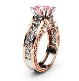 Band ruBies ring online shopping - Double Gold Filled Luxury Jewelry KT White Rose Gold Round Cut Big Multi Color Topaz CZ Diamond Pave Party Women Wedding Band Ring Gift