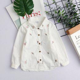$enCountryForm.capitalKeyWord Canada - New baby girls' long sleeve Shirts kid's embroider T shirts for spring & autumn white turndown collar shirts