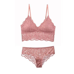 f18ccfeaca New Lace No Buckle Vest Lingerie Women Underwear Deep V Sexy Bras Panties  Sets Wire Free Soft Thin Cup Push Up Bra   Brief Set