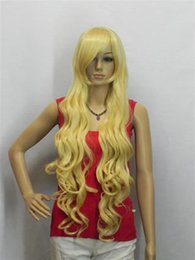 Опт бесплатная доставка женские длинные прямые желтый цвет парик жаропрочных темно-желтый цвет волнистые волосы парик нет челки+парик Cap