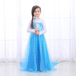 e03f899f1ecd7 Children Girl Cosplay dresses with cloak Tulle Maxi Princess dress  Rhinestone Fairy Tales Sea blue Performance clothing Boutique