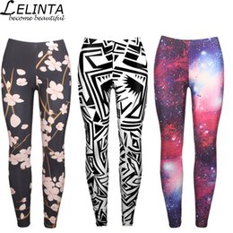 Digital Printing Yoga Pants NZ - LELINTA Yoga Pants for Women Interstellar Galaxy Tights Pants Digital Print Purple Star Slim Was Thin Leggings