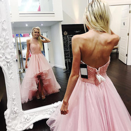 low back halter evening gown 2019 - 2018 Pink High Low Prom Dresses With Beaded Halter Neck Tiered Organza Hi-Lo Evening Party Pageant Gowns Cheap Customize