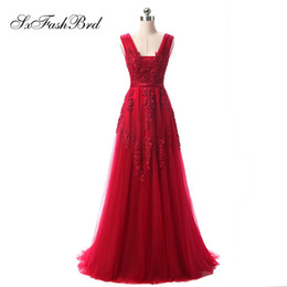 $enCountryForm.capitalKeyWord UK - Girls Dress Elegant Sexy V Neck A Line With Appliques Red Tulle Long Party Formal Evening Dresses for Women Prom Dress Gowns