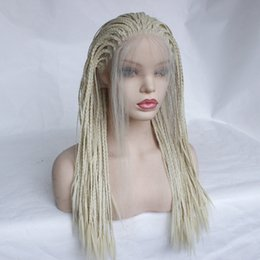 Synthetic Braiding Hair Blonde Australia - Cheap Braided Lace Front Wigs Platinum Blonde With Baby Hair Long Straight Heat Resistant Fiber Synthetic Lace Front Braid Wig