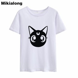 cc9e5242291 Women s Tee Mikialong Cat Funny Tshirt Cotton Women 2018 Ulzzang Harajuku  Summer T Shirt Korean Graphic Ladies Top Tee Shirt Femme Blusas