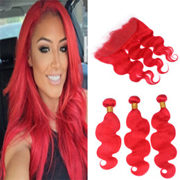 $enCountryForm.capitalKeyWord NZ - Body Wave Red Lace Frontal Closure and Bundles Light Red Color Peruvian Wavy Virgin Human Hair Weave with Full Lace Frontals