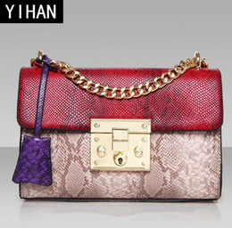 $enCountryForm.capitalKeyWord Australia - Factory outlet brand handbag customized snake leather PU shoulder bag fashion exquisite lock chain bag elegant snake color woman hand bag