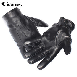 Men Gloves Leather Sheepskin Australia - Gours Men's Genuine Leather Gloves Real Sheepskin Black Touch Screen Gloves Button Fashion Brand Winter Warm Mittens New GSM050 D18110705