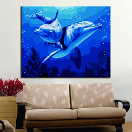 Love Wall Pictures NZ - Oil Pictures DIY Handpainted Dolphins Love Painting By Numbers Kits Coloring On Canvas Drawing Living Room Wall Art Framework