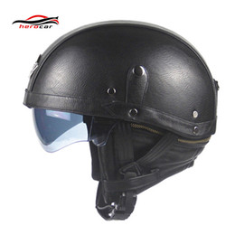 Vintage Leather Motorcycle Helmets NZ - New Synthetic Leather Motorcycle Helmet Retro Vintage Half Helmet Cruiser Scooter Touring Casco Moto DOT Sun Shield Lens