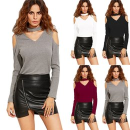 Wholesale 2018 FW Women Knitted Tops Sexy V Neck Off Shoulder Knitwears Fashion Solid Slim Fit Long Sleeve Tees