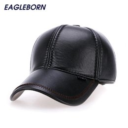 fc0ae909e82 2017 Fashion Leather Baseball Cap Men Thicken Fall Winter Hats with Ears 6  Panel Keep Warm Leather Cap Male Hats Bone casquette D18110601