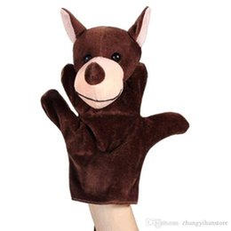 puppets 2018 - Wholesale-1Pcs Cute Bear Wolf Turtle Cows Dragon Hand Puppet Finger Puppet Animal Glove Puppet Hand Dolls Plush Toy For