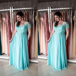 Discount fat big Elegant Aqua Plus Size Mother Of The Bride Dresses 2019 Short Sleeves Maxi Big Sizes Formal Weddings Guest Dress For Fat