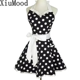 Discount lace aprons - Xiumood Retro Cute Sexy Waiter Apron Dress With Pocket Cotton White Lace Black Polka Dot Kitchen Chef Cooking Aprons For
