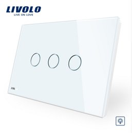 Lighted Light Switches Australia - Livolo Ivory White Crystal Glass Panel, AU US standard VL-C903D-11,Digital Wall Switch, Dimmer Control Home Wall Light Switch