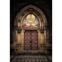 vinyl backdrops bricks 2019 - Vintage Castle Arched Door Wedding Photography Backdrops Vinyl Brick Wall Old Style European Architecture Party Themed P