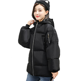 winter hooded coats UK - 2018 Stylish Winter Jacket Women Stand Collar Oversize Cotton Padded Womens Jackets Loose Hooded Outwear Female Coat Casaco