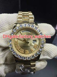Chinese  Prong set diamonds bezel watch automatic mens luxury gold 42mm case gold dial Roman markers date Gold Big diamond watches manufacturers