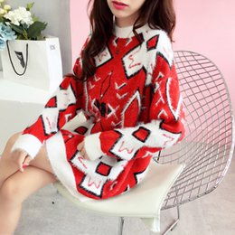 $enCountryForm.capitalKeyWord NZ - Women Fall Fashion Loose Pullover Knitted Sweater Mohair Geometric Pattern Long Sweater Ladies Christmas Jumper Outwear Suits