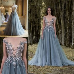 Discount line prom dress plunge neckline - 2018 Paolo Sebastian Lace Prom Dresses Long Sheer Plunging Neckline 3D Floral Appliqued Evening Gowns Sweep Train Tulle