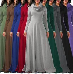 ddfbf0feba83 Neck Swing Dress White Canada - Plus Size S -XXL Ladies Cowl Neck Long  Sleeved