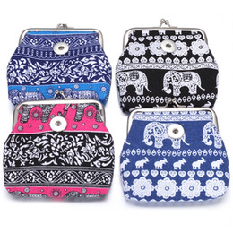 wholesale elephant fabric Canada - Vintage Noosa Chunks 18MM Snap Buttons Coin Purses Elephant Coin Purses Flag Wallets Pouch Gift Kids Money Bag