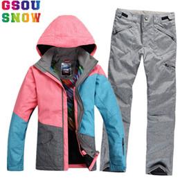 98d9099e9b Ski Clothes Brands Canada - GSOU SNOW Brand Ski Suit Women Waterproof Ski  Jacket Snowboard Pants