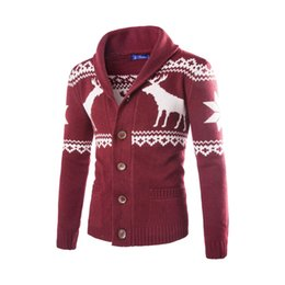 bd55f3dcd75d0b Deer Animal Print Design Mens Christmas Sweaters Cardigan Knitted Tops  Outerwear Man Slim Tops Single Breasted Sweaters Mens Clothing