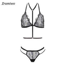 0c2c9ef81a0 Zramiwo Women Lace Bra Set Harness Bra and Panty Sexy Lingerie Set Sheer Underwear  See through Nighty
