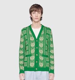 China New Autumn and Winter Men Women Knitwear Covered Tiger Head Print V-Neck Knit Shirt Cardigan Sweater Womens Outwear Tops Sweatshirt Hip hop suppliers