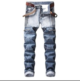 zip jeans men 2019 - 2018 autumn men's hit color stitch luxury Jeans Men creases zip Jeans Slim Fit straight Denim fat man Pants JEANS b
