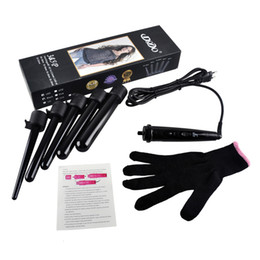CeramiC hair Curling wands online shopping - 5 in Curling Wand Set Hair Curling Tong Hair Curl Iron The Wand Hair Curler Roller Gift Set mm Curler Wand