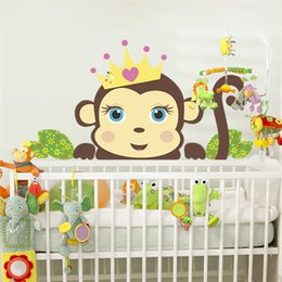Nursery Stickers Jungle Australia - stickers for Jungle Wild Couple Monkeys Stickers For Rooms Children Wall Decals Home Decor Nursery Room Decor Kids Gift