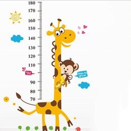 Wholesale Kids Growth Chart Child Height Measure gauge Giraffe Clouds Wall Stickers Cartoon Animal Bedroom Living Room Background Wallsticker Decal