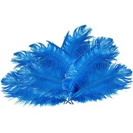 ostrich plumes feather UK - cariel Colorful 14-16 inch(35-40 cm) white Ostrich Feather plumes for wedding centerpiece wedding party event decor festive decoration Z134b