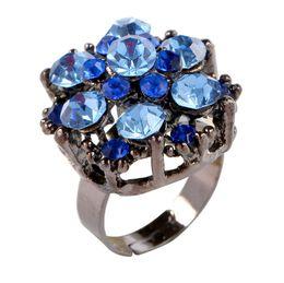 $enCountryForm.capitalKeyWord Australia - Adjustable Hollow Flowers Ring Crystal Rhinestone Finger Ring Women Fashion Jewerly Wedding Party Bridal Ring