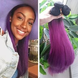 Discount brazilian virgin hair ombre purple - Ombre Purple Human Hair Bundles Virgin Brazilian Two Tone Colored Human Hair Extensions 4Pcs Lot Straight Ombre Hair Wea