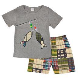 Preço de fábrica por atacado Novo Design Criança Menino Conjunto de Roupas de Verão Peixe Bordado Boutique Shorts Bebê Remake Outfits Conjunto Y1893005