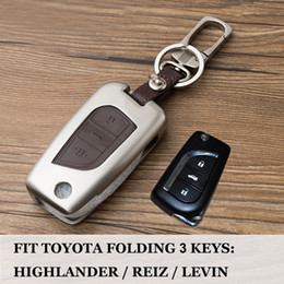Key Shell Case Toyota Australia - 3 Button Folding key shell Keychain for TOYOTA HIGHLANDER REIZ COROLLA LEVIN Auto Real Leather key Bag Remote car key cover case