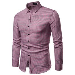 Smart Clothing NZ - Men New Slim Fit Stylish Plaid Shirts Vogue Manle Casual Tops Long sleeve daily basic Smart Casual Shirts Shirt Clothes man
