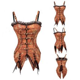 0a524ccd96 Abbille Sexy Women s Steel Boned Overbust Corset Steampunk Lace Waist  Cincher Corset Zip Metal Chain Body Shaper Corselet Brown