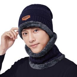 suit scarves men 2019 - mrwonder 2PCS Set Men Hat + Neck Gaiter Hat Collar Suit Knitted Cap Neck-Warmer cheap suit scarves men