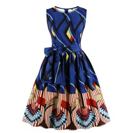 92ce354c8f203 Retro Vintage Womens Sleeveless Dress Printed Ladies Crew Neck Sundress Housewife  Rockabilly Evening Party Pinup Dresses Hot
