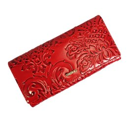 $enCountryForm.capitalKeyWord Canada - Genuine Leather Women Wallets Brand Embossing Flower Design High Quality Cell phone Card Holder Long Lady Wallet Purse Clutch