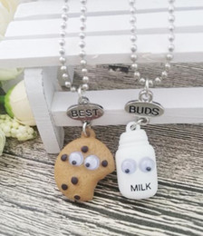 Wholesale kids jewelry Best Friends BFF pendant bead chain necklace pendants fastfood milk cookie biscuit lead nickel free drop shipping