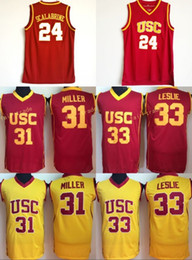 USC Trojans College 24 Brian Scalabrine Jersey 31 Matt Miller 33 Lisa  Leslie Basketball Jerseys University Team Red Color White Away Quality 932ccbb2b